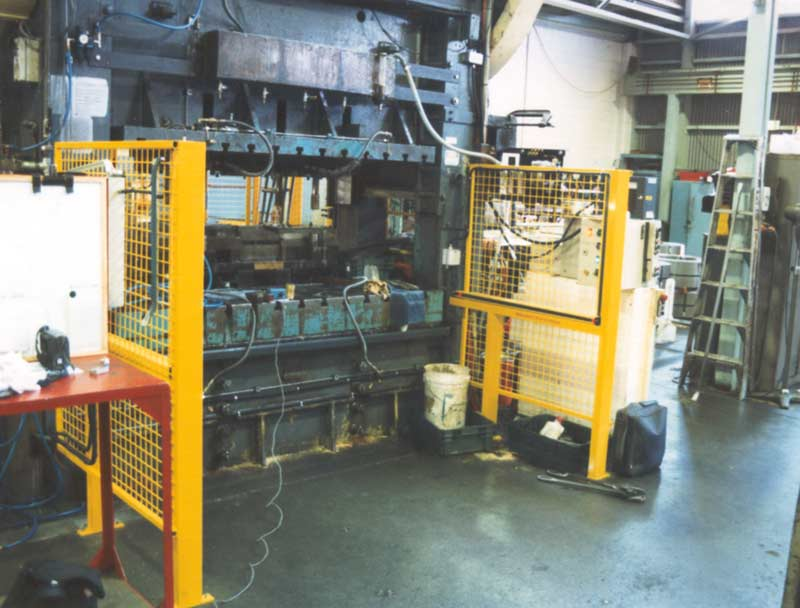 Light Curtain at Front of Metal Stamping Press